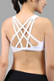 High Impact Anti-shock Criss-cross Design Sports Bra in White