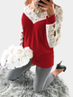 Red Lace Patchwork Hollow Out V-neck T-shirt