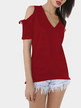 Burgundy V-neck Cold Shoulder T-shirt