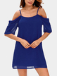 Blue Cold Shoulder Mini Dress