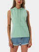 Mint Green Casual Sleeveless Hooded Top