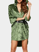 Crushed Velvet Hooded V-neck Mini Dress in Green