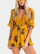 Deep V-neck Random Floral Print Playsuit in Orange