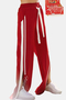 Active Wide Leg Side Slit Design High-waisted Sport Pants in Red