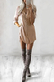 Khaki V-neck Long Sleeves Curved Hem Shirt Dress