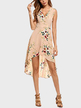 Beige V-neck Random Floral Printed Midi Dress