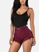 Burgundy High-waisted Denim Shorts