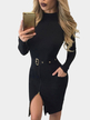 Black Zipper Front Two Pockets Bodycon Dress with Belt