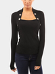 Black Stand Collar Long Sleeves Top with Button Details