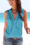 Blue Deep V-neck Cross Front Top