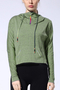 Active High Neck Loose Zip Design Sports Hoodie in Green