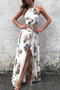 White Side Split Back Lace-up Random Floral Print Sleeveless Dress
