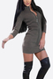 High Neck Zipper Design Mini Dress in Grey