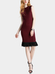 Burgundy Crew Neck Sleeveless Knitted Dress with Tassel Hem