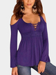 Purple Cold Shoulder Lace-up Chest Pleated T-shirts