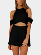 Cold Shoulder Cutout Playsuit in Black