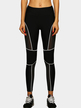 Black Mesh Patchwork Bodycon Leggings with White Lining