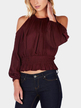 Fashion Burgundy Cold Shoulder Long Sleeves Blouse