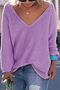 Light Purple Classic Design Loose Plunge Sweater