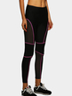 Black Mesh Patchwork Bodycon Leggings with Pink Lining