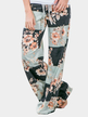 Light Green Random Floral Print Wide Leg Pants