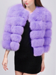 Purple Fluffy Artificial Fox Coat