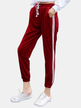 Active Contrast Color High Waisted Velvet Pants in Burgundy