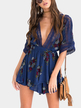 Deep V-neck Random Floral Print Playsuit in Navy