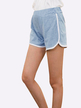 Elastic Mid-waist Sports Shorts in Light Blue