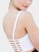 Solid Color Backless Hollow Details Padded Chest Sports Bra in White