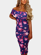 Sexy Random Floral Off Shoulder Bodycon Dress