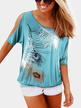 Blue Feather Printing T-shirt With Cold Shoulder