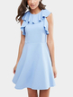 Blue Frill Neck Dress with Ruffled Detailing