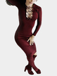 Burgundy Lace-up Front Hollow Out Bodycon Party Dress