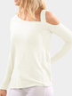 Creamy White One Shoulder Long Sleeves T-shirt