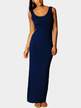 Navy Scoop Neck Sleeveless Maxi Dress