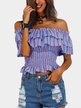 Sexy Srtipe Pattern Off Shoulder Layered T-shirt
