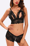 Black Sexy V-neck Lace-up Design Cut Out Lingerie Set
