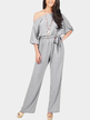 Grey One Shoulder Self-tied Maxi Jumpsuits