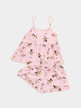 Pink Random Floral Print V Neck Sleeveless Pajamas Suit